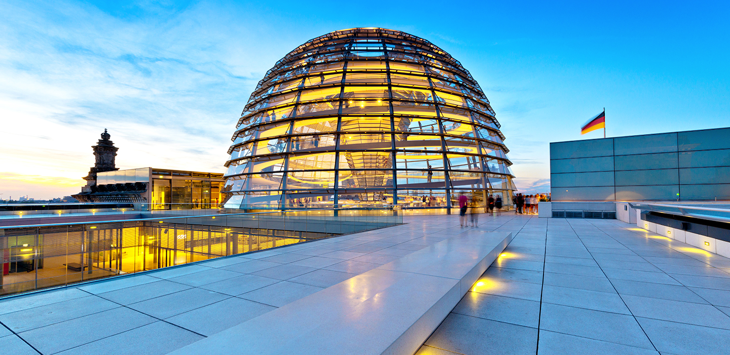 Reichstags dome Berlin in the evening